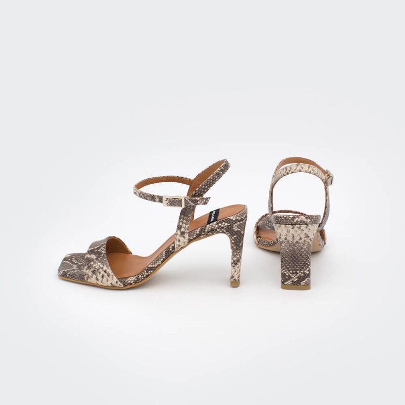 serpiente animal print marron nude piel NORONA - Sandalias de tacón básicas y cómodas primavera verano 2020 mujer