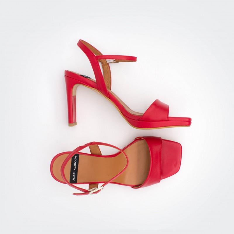 piel rojo mujer NEVIS - Sandalias de tacón alto básicas con plataforma primavera verano 2020 Ángel Alarcón zapatos