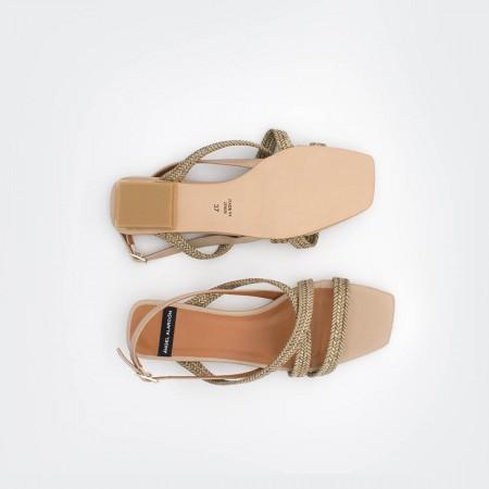 nude beig MAURI - Sandalia de cuerdas trenzadas tacón bajo. zapatos mujer primavera verano 2020 ss20 Angel Alarcón