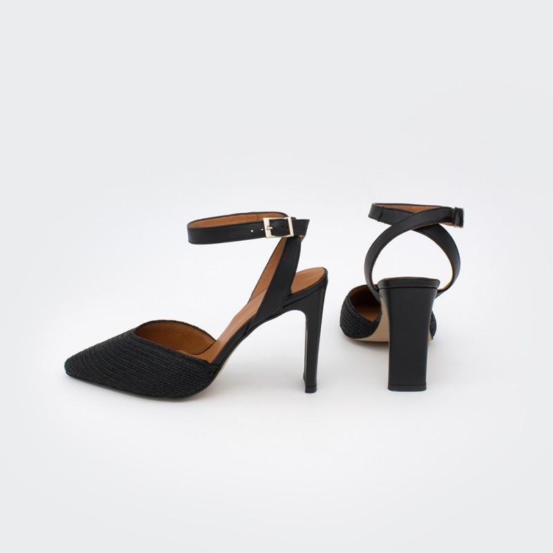 negro rafia cuerda piel TOURE - Zapato de vestir de punta fina con pulsera mujer stiletto tacón ancho primavera verano 2020