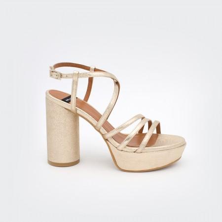 metalizado oro dorado JAVA - Sandalias de tiras de mujer tacón alto y plataforma. Zapatos primavera verano 2020 Ángel Alarcón