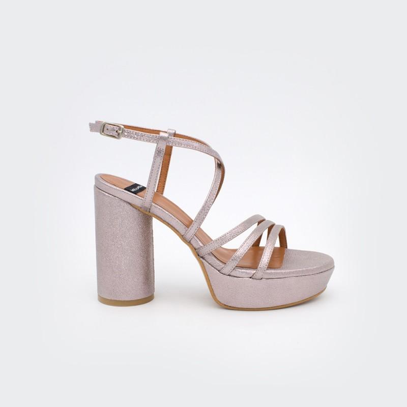 metalizado nude rosa palo JAVA - Sandalias de tiras de mujer tacón alto y plataforma. Zapatos primavera verano 2020