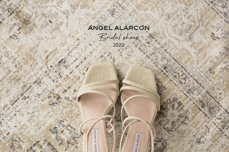 Zapatos de novia 2020 comodos de la marca angel alarcon 2021 dorados