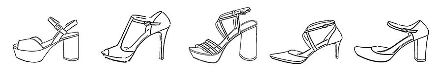 Dibujos de modelos de zapatos de novia de la colección 2020 de la marca Ángel Alarcón