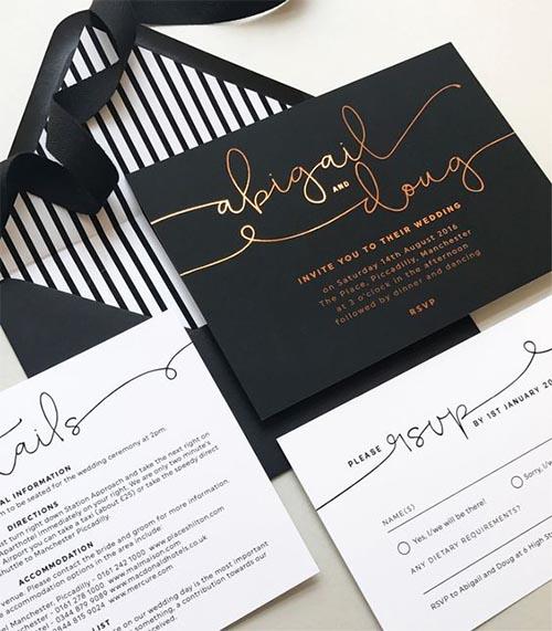 invitacion de boda en blanco y negro