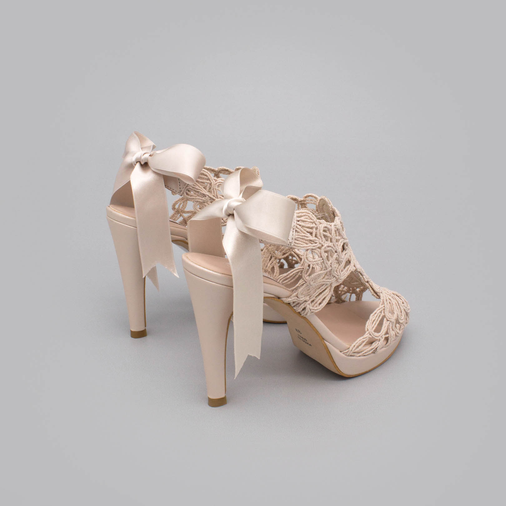 Nude colored sandals LOVERS Original sandals in leather and string with high heel and platform wedding shoes and party shoes 2020. Angel Alarcon Spain woman