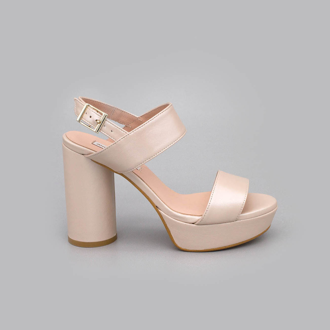 sandal leather Angel Alarcon bride spring summer 2020 2021 woman subject ankle round platform heel shoe color nude
