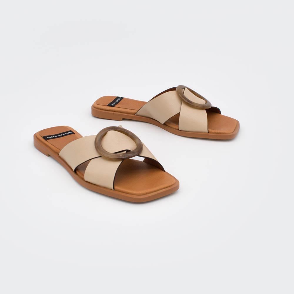 marron nude beig piel ARUBA - Sandalia plana de mujer con adorno f