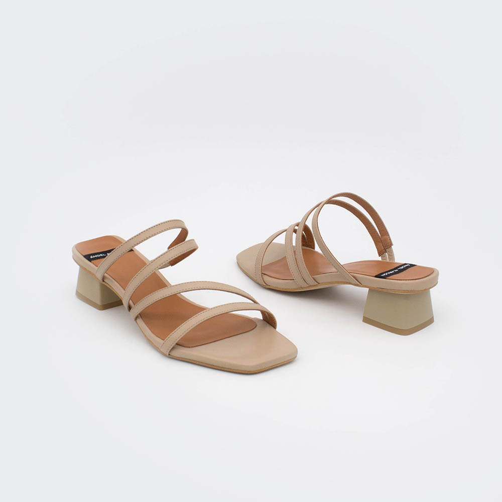 nude beig BARBOS - Women's wide heel leather strap sandal. Women's spring summer 2020 Angel Alarcon shoes