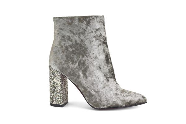 zapatos de terciopelo plata de la marca Angel Alarcon H 16638-868T CINIGLIA ARCHIVE MELANGE GLITTER SAND G-231 botin de terciopelo