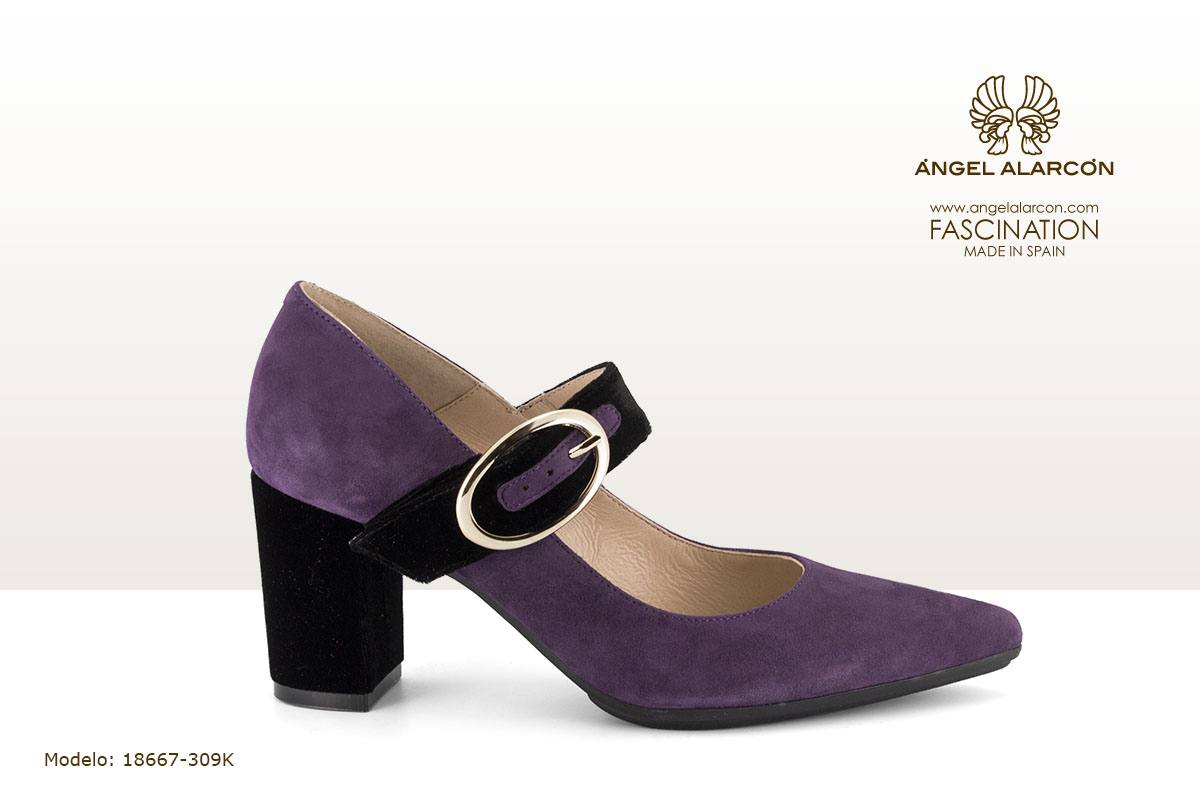 18667-309K zapatos invierno winter autumn shoes Angel Alarcon - zapatocerrado tacon ancho decolor lila morado