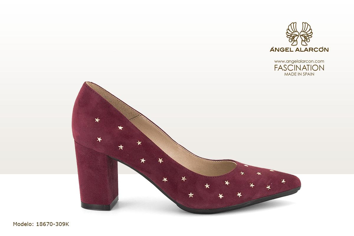 18670-309K zapatos 2019 invierno winter autumn shoes Angel Alarcon - zapato cerrado de tacon ancho de piel rojo con estrellas