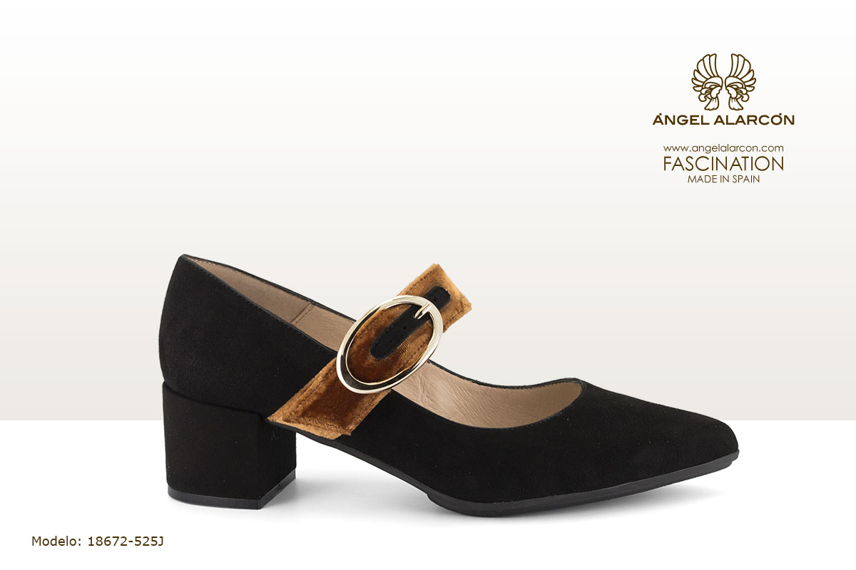 18672-525J zapatos invierno 2019 winter autumn shoes Angel Alarcon - zapato de tacon ancho y bajo mary Jane negro