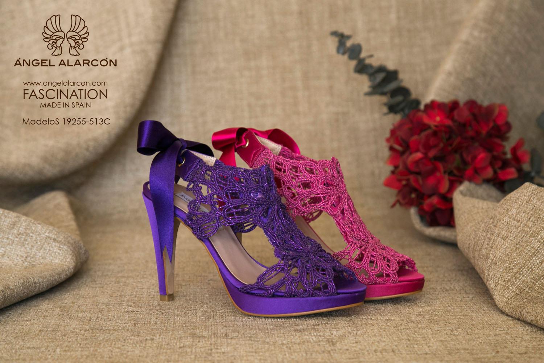 zapatos de novia 2019 de la marca Angel Alarcon ZAPATOS DE COLOR fucsia, buganvilla, morados, azules sandalias de novia