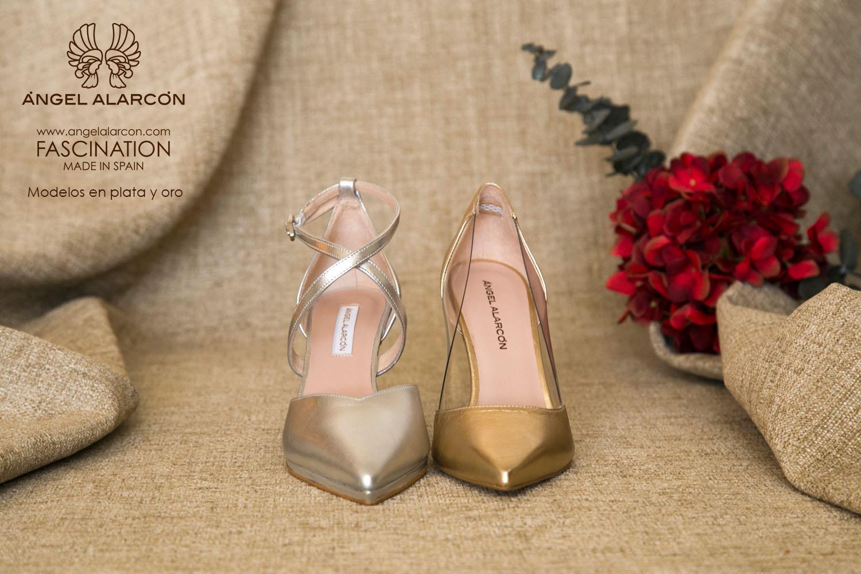 zapatos de novia 2019 de la marca Angel Alarcon ZAPATOS METALIZADOS oro plata