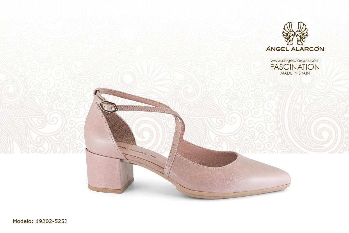 14 d'orsay de tacón ancho y bajo nude rosa palo - zapatos de vestir y fiesta de la marca Angel Alarcon - calzado de mujer - coleccion primavera verano 2019 - 19202-525J