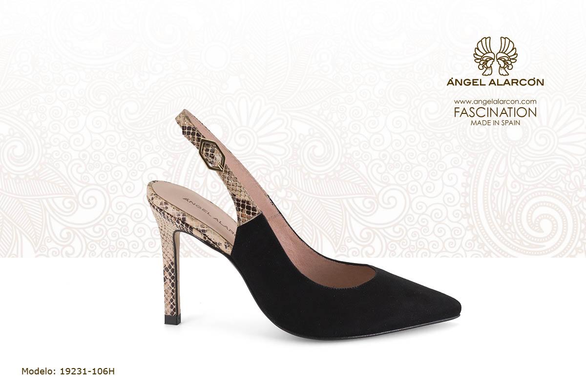 23 slingback de tacon fino negro print serpiente - zapatos de vestir y fiesta de la marca Angel Alarcon - calzado de mujer - coleccion primavera verano 2019 - 19231-106H