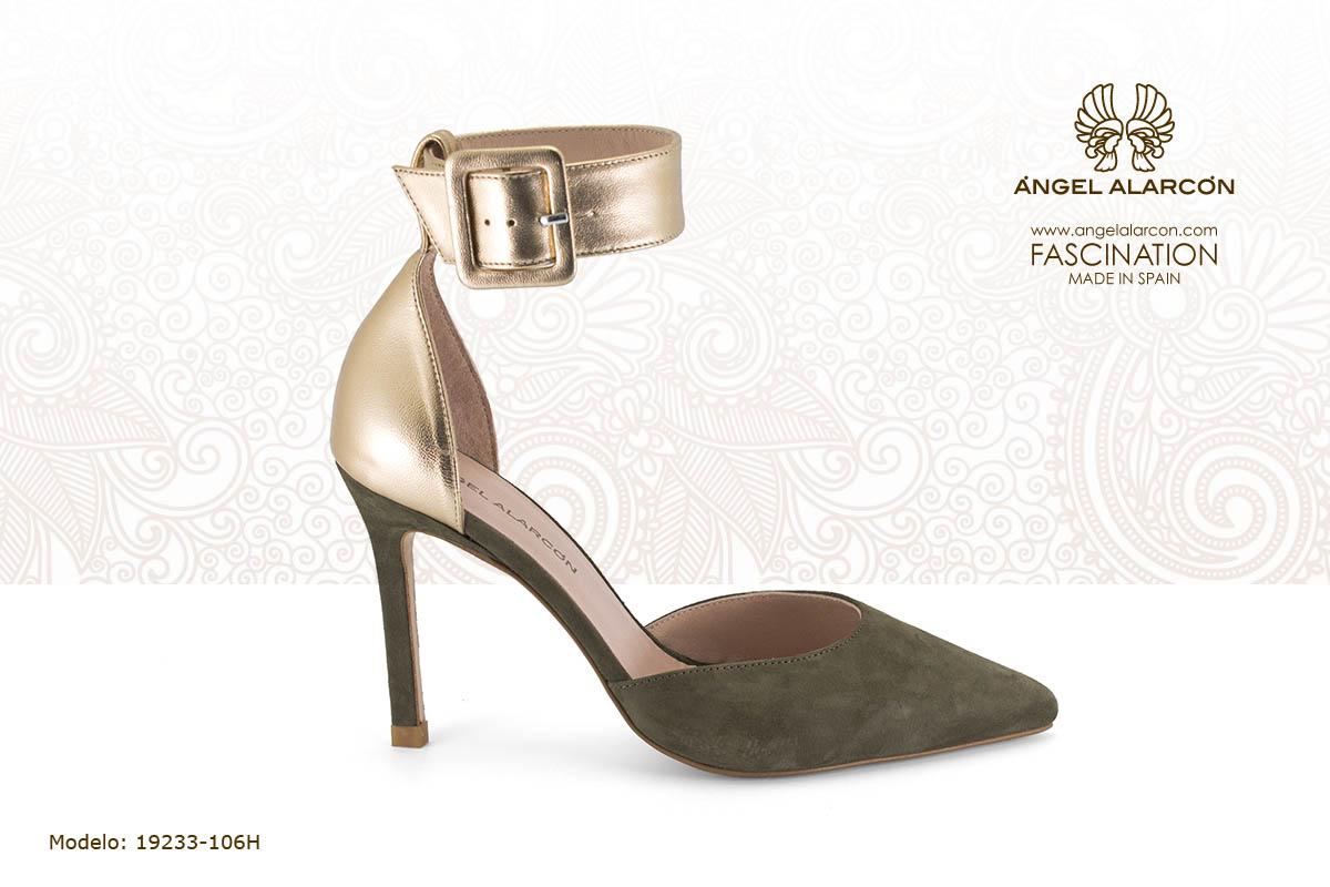 25 d'orsay atado con pulsera verde dorado - zapatos de vestir y fiesta de la marca Angel Alarcon - calzado de mujer - coleccion primavera verano 2019 - 19233-106H