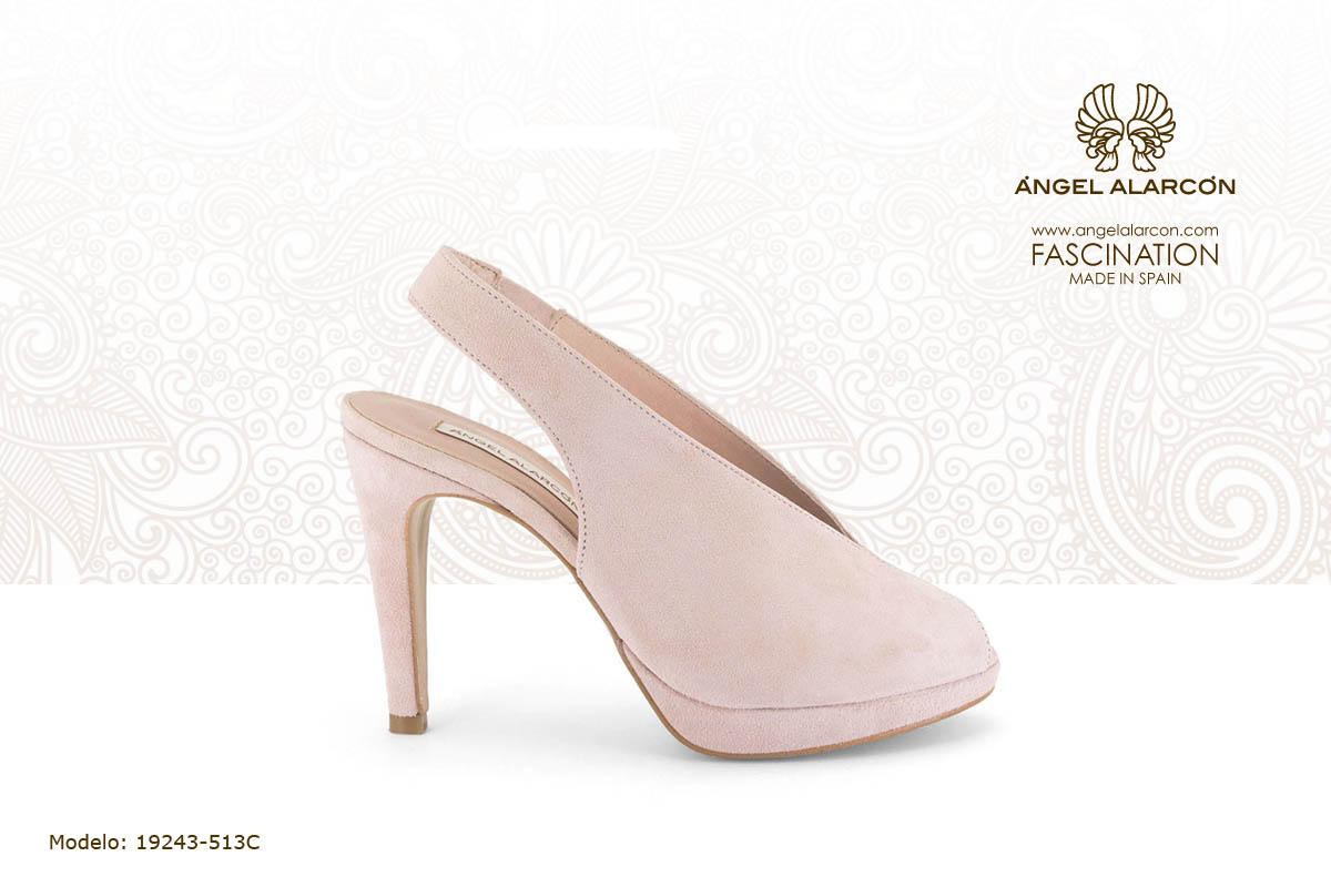 26 slingback de tacon alto y plataforma rosa palo - zapatos de vestir y fiesta de la marca Angel Alarcon - calzado de mujer - coleccion primavera verano 2019 - 19243-513C
