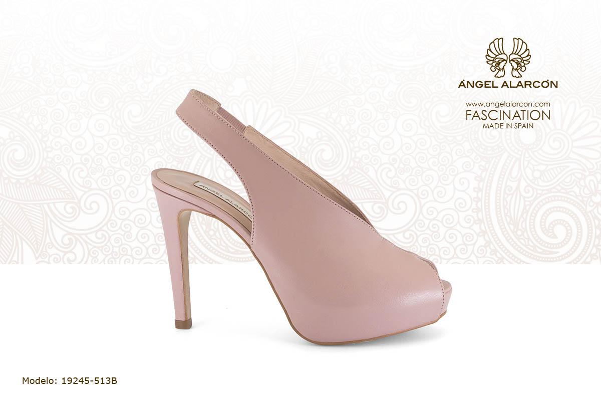 27 slingback de tacon muy alto y plataforma nude - zapatos de vestir y fiesta de la marca Angel Alarcon - calzado de mujer - coleccion primavera verano 2019 - 19245-513B