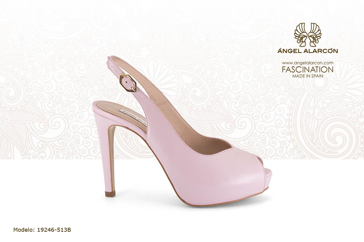 28 slingback de tacon muy alto y plataforma rosa palo - zapatos de vestir y fiesta de la marca Angel Alarcon - calzado de mujer - coleccion primavera verano 2019 - 19246-513B