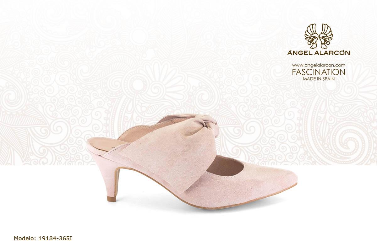 8 Zueco mule rosa palo con lazo - zapatos de vestir y fiesta de la marca Angel Alarcon - calzado de mujer - coleccion primavera verano 2019 - 19184-365I