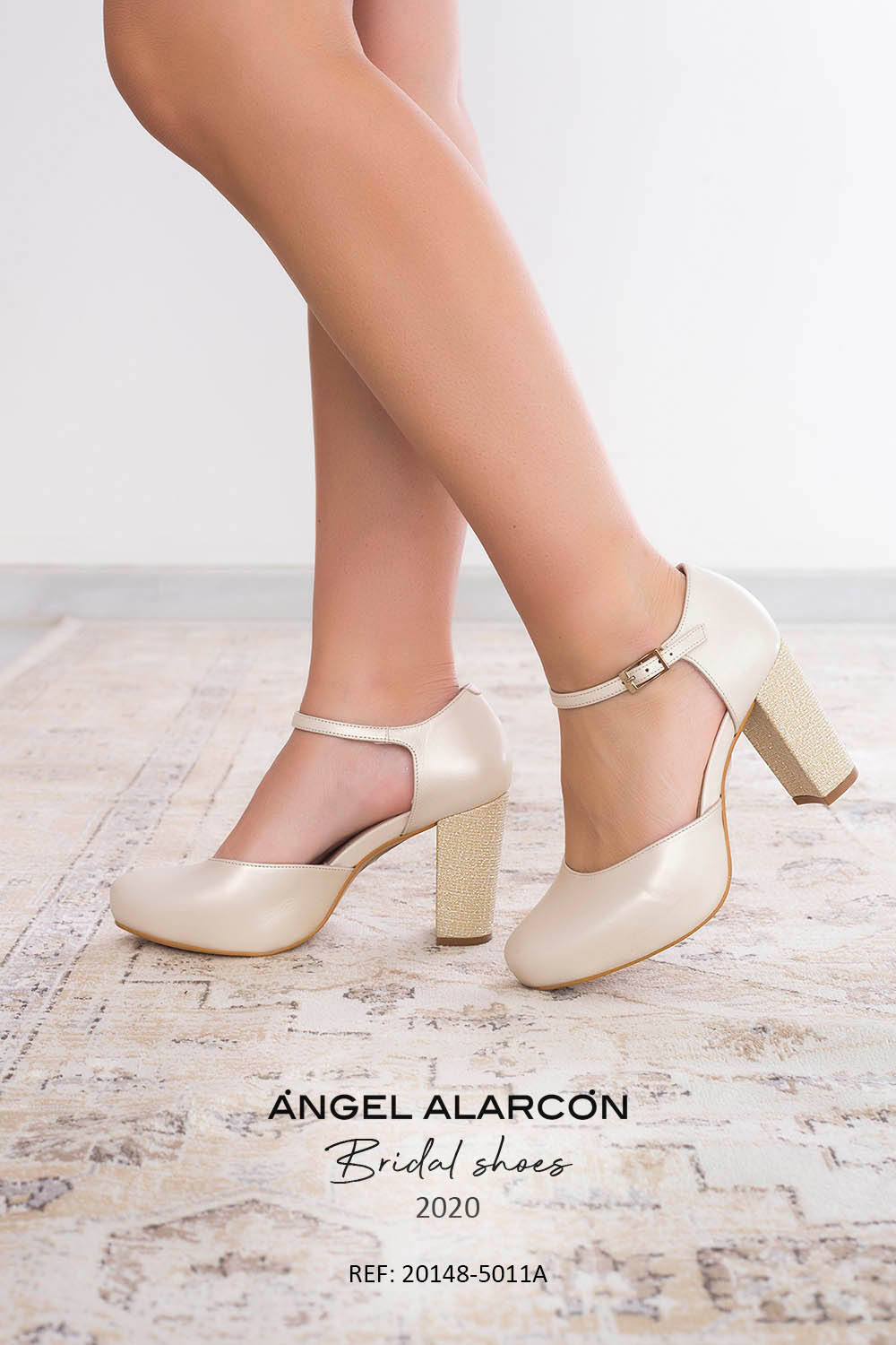wedding shoes 2020 20148-5011A IVORY. Comfortable women's wedding shoes by Angel Alarcon