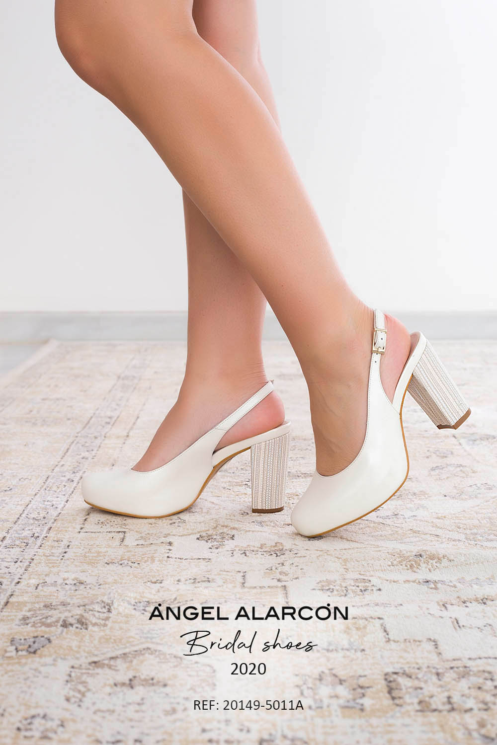 wedding shoes 2020 20149-5011A WHITE B . Comfortable women's wedding shoes by Angel Alarcon