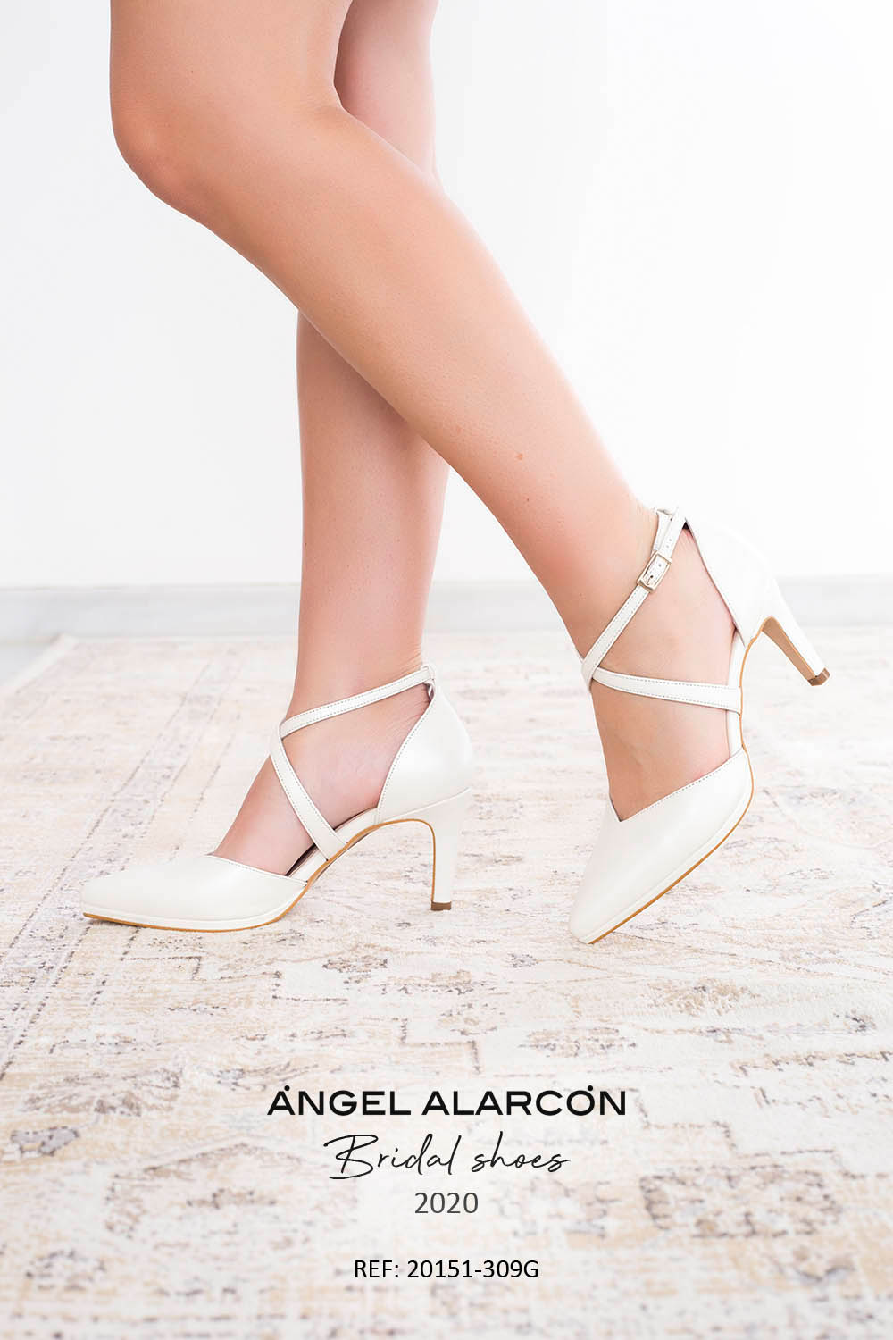 bridal shoes 2020 20151-309G WHITE B - Comfortable women's wedding shoes by Ángel Alarcón