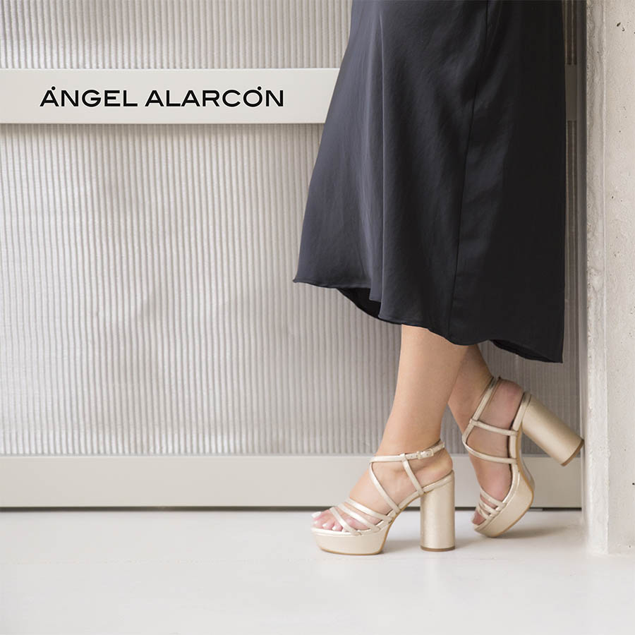 Wide-heeled sandals and platform Women's shoes spring summer 2020 Angel Alarcon. Made in Spain. Comfortable and high shoes