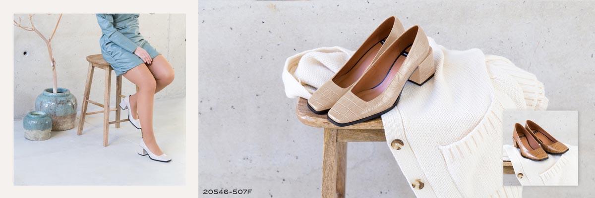 zapato cerrado de punta cuadrada y tacon medio 2020 2021