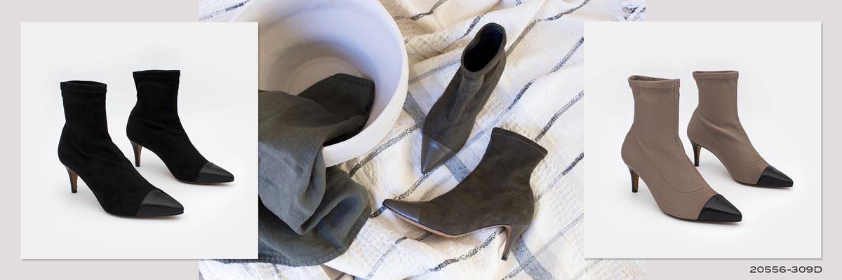 Botines de calcetín elásticos con puntera de piel de tacon fino 2020 2021